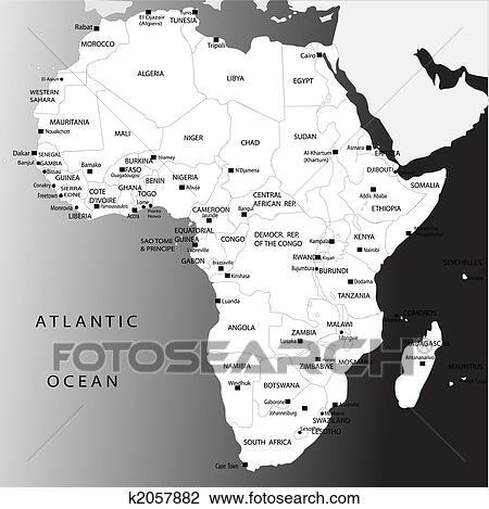 Cartina Dell Africa In Bianco E Nero.Politico Mappa Di Africa Disegno K2057882 Fotosearch