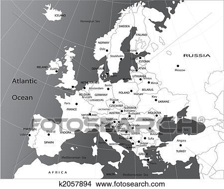 Politiek Kaart Van Europa Stock Illustraties K2057894