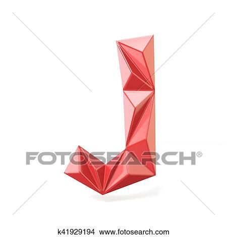 Drawings Of Red Modern Triangular Font Letter J 3d K41929194
