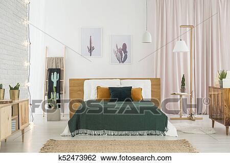 Rustique, chambre à coucher, à, bois, meubles Banque d\'Image
