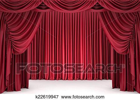 Théâtre, rideau, lit, par, a, projecteur Banque d\'Illustrations