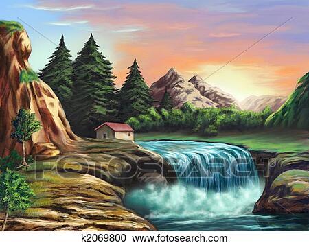 ファンタジー 風景 クリップアート切り張りイラスト絵画集