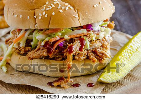 stock photograph of barbeque pulled pork sandwiches k25416299