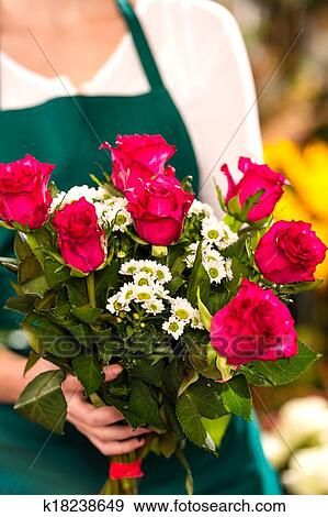 Florist Woman Holding Red Roses Bouquet Hands Stock Photograph K18238649