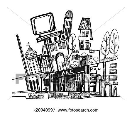 Ilustrace Z Mnoziny Mesto Graficky Kresleni K20940997 Hledat