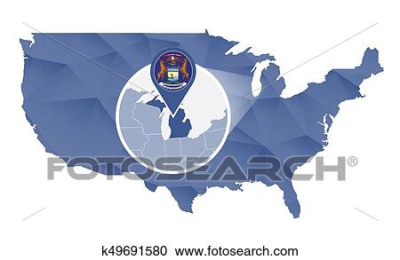 Michigan State magnified on United States map. Clipart ...