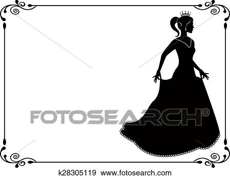 clip art of princess silhouette in long dress k28305119 search