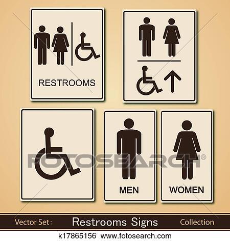 . Restroom Signs Vector Collection Clip Art