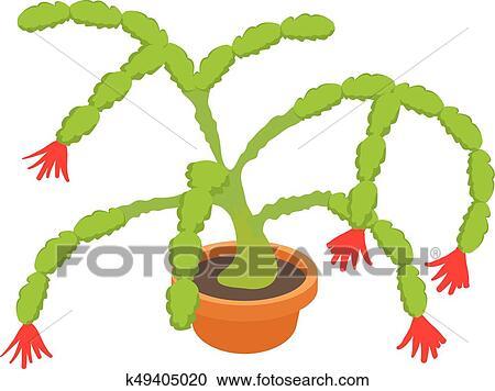 Christmas Cactus Clipart.Christmas Cactus Icon Cartoon Style Clipart
