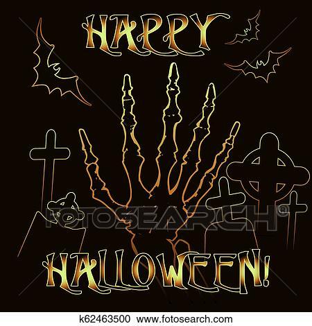 Happy Halloween Invitation Card With Zombie Hand Vector