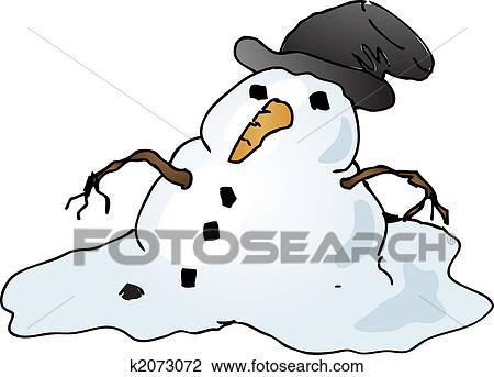 clip art of melting snowman k2073072 search clipart illustration rh fotosearch com melted snowman clipart melting snowman clipart black and white