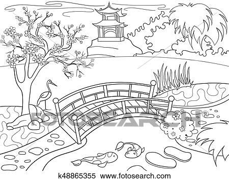 Clipart - naturaleza, de, japón, libro colorear, para, niños ...