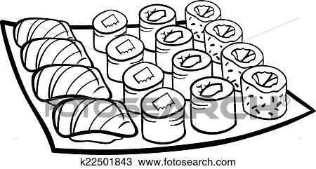 Sushi Lunch Cartoon Coloring Page Clipart K22501843 Fotosearch