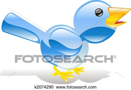 clipart of twitter ing blue bird icon k2074290 search clip art