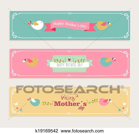 Clipart Of Vintage Happy Mothers Day Banners Set K19169542