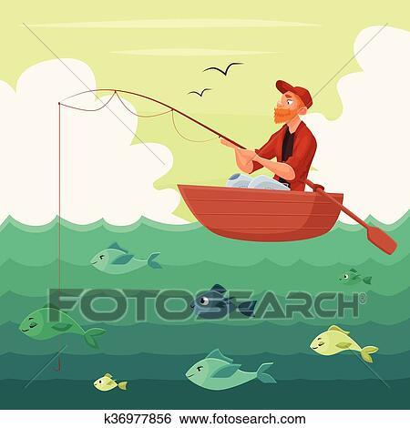 سفينة صيد جلسة إلى داخل ال التعريف ركب زورقا Clip Art K36977856 Fotosearch