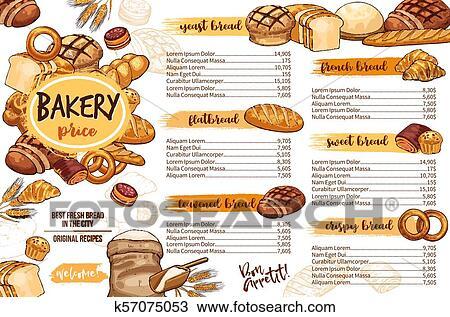 パン屋 メニューテンプレート の Bread ために カフェ そして ペストリー クリップアート 切り張り イラスト 絵画 集 K Fotosearch