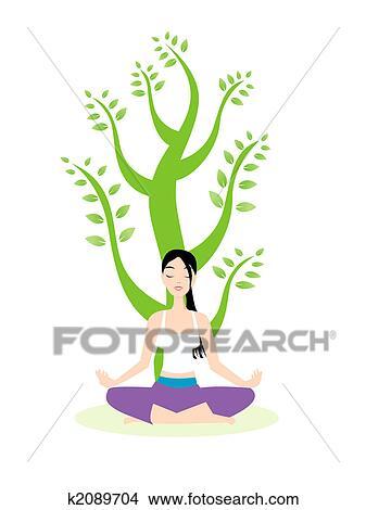 ヨガ 瞑想 イラスト K2089704 Fotosearch