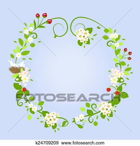 花の意匠 愛 春 美しい 結婚式 花輪 フレーム ベクトル イラスト