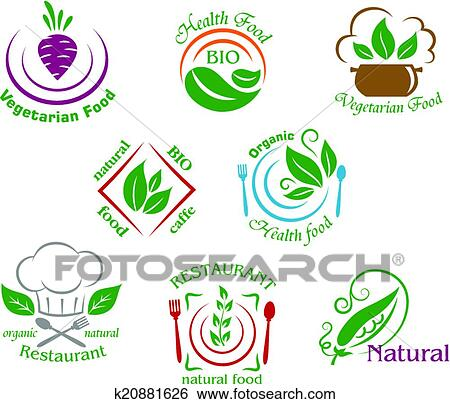 Clip Art Of Assorted Restaurant And Vegetarian Food Symbols Or Signs
