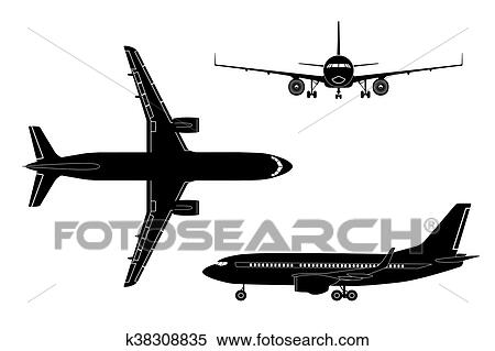 Black Airplane Silhouette On A White Background Clipart
