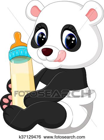 Clip Art of cute baby panda k37129476 - Search Clipart ...