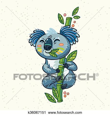 Cute Cartoon Koala On A Tree Vector Illustration Clipart K36067151 Fotosearch My daughter wanted me to draw one. cute cartoon koala on a tree vector