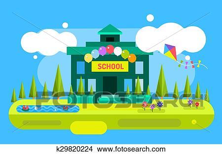Cute Vector Cartoon School Building Illustration Uniform Garden Nature Outdoor And University Preschool Education Small Kids