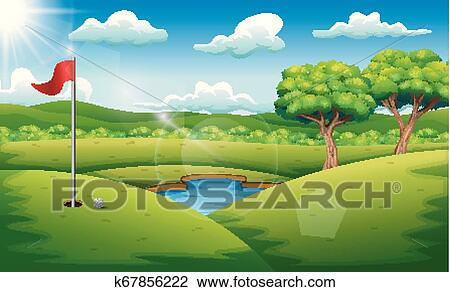 Golf Course On The Landscape Background Clipart K67856222 Fotosearch