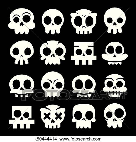 Halloween Vector Black And White.Halloween Vector Cartoon Skull Icons Mexican White Cute Sugar Skulls Design Set Dia De Los Muertos On Black Background Clipart