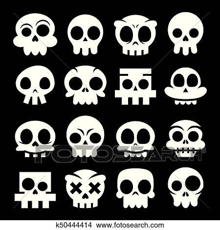 Halloween Vector Black And White.Halloween Vector Cartoon Skull Icons Mexican White Cute Sugar Skulls Design Set Dia De Los Muertos On Black Background Clipart