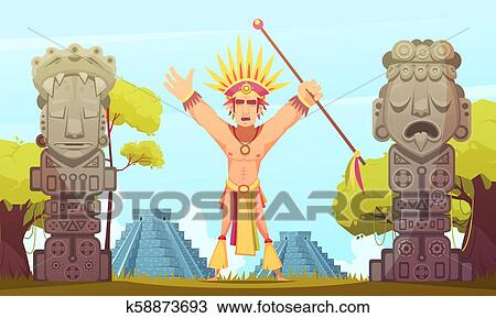 The Best Mayan Pyramids Cartoon Background