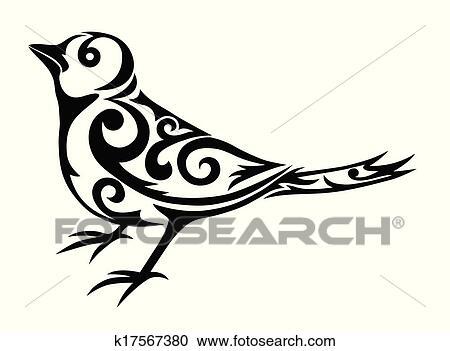 oiseau tribal illustration clipart k17567380 fotosearch. Black Bedroom Furniture Sets. Home Design Ideas