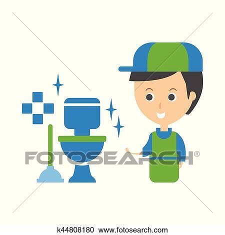 Reinigung, service, arbeiter, und, sauber, toilette, putzen, firma,  infographic, abbildung Clipart