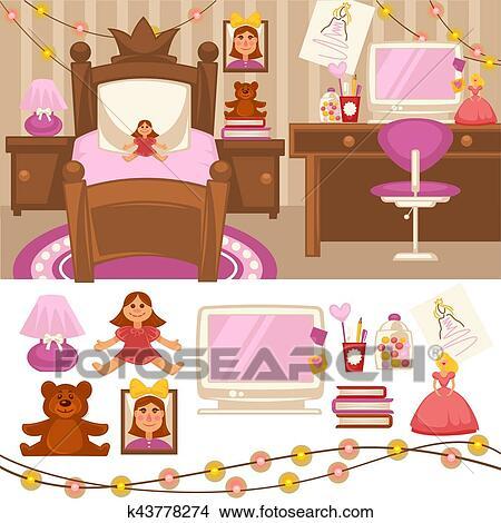 Clipart - sitio de las muchachas, juego de dormitorio, de, muebles ...