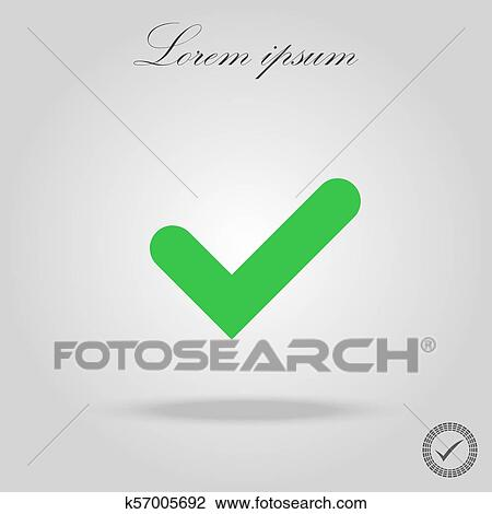 Tick sign element  Green checkmark icon isolated on white background   Simple mark graphic design  OK button for vote, decision, web  Symbol of