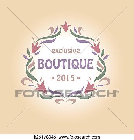 Clipart Vector Logotipo Con Un Vineta De Flowers Boutique