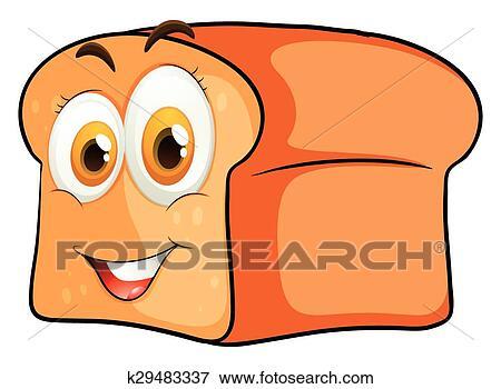 الرغيف الخبز ب الوجه السعيد Clip Art K29483337 Fotosearch