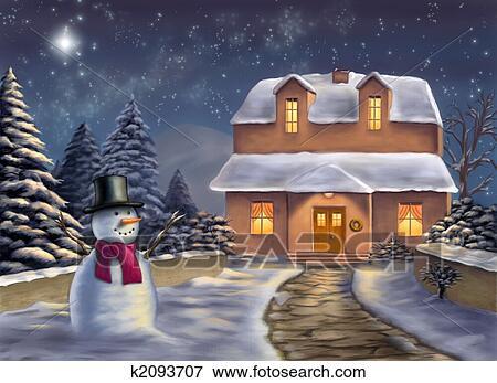 クリスマス 風景 イラスト K2093707 Fotosearch