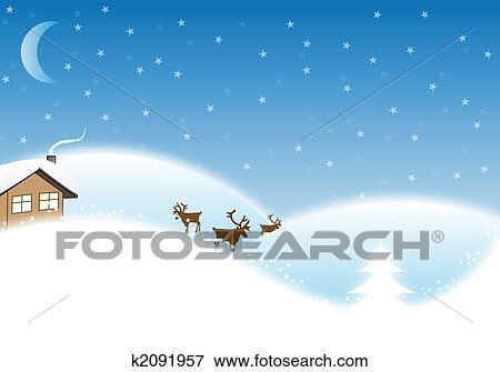 冬 クリスマス 風景 イラスト K2091957 Fotosearch