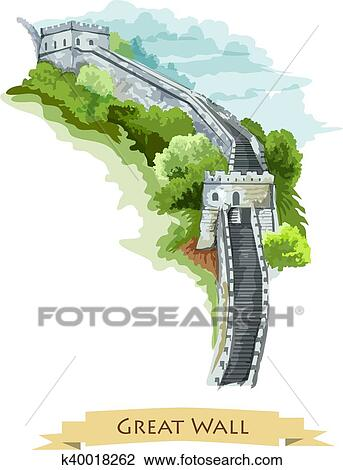 Great Wall Of China Map View.Clipart Of Chinese Great Wall Watercolor Icon K40018262 Search