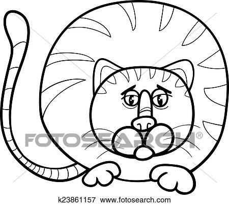 Clip Art - dicke katze, karikatur, färbung, seite k23861157 - Suche ...