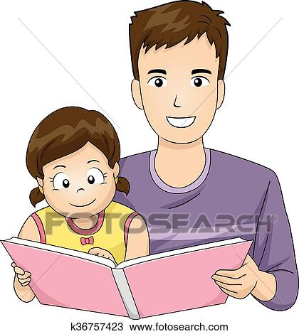Family Father Read Book Kid Girl Clipart | k36757423 ...