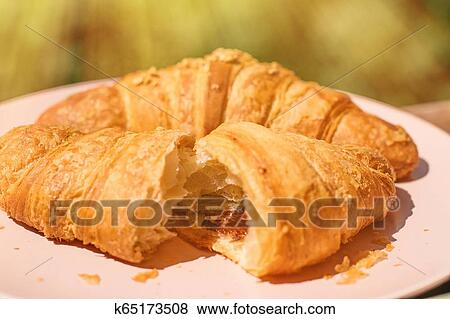French Chocolate Croissant In Sunny Provence Summer Holidays And European Cuisine Concept Stock Photo