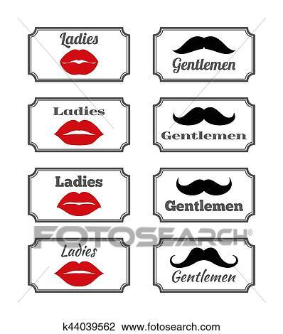 Clipart - Ladies and gentlemen bathroom symbols. Vector lips mustache. Fotosearch - Search Clip