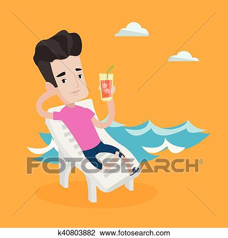 Man relaxing on beach chair vector illustration. Clipart ...