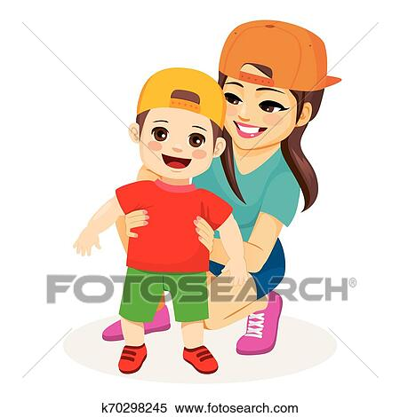 Mom Helping Baby Son Walk Clipart K70298245 Fotosearch