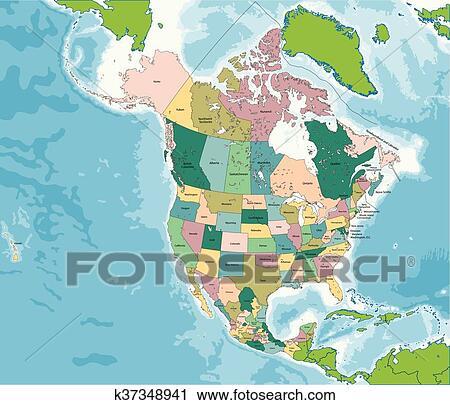 Karte Südamerika Und Nordamerika.Nordamerika Landkarte Mit Usa Kanada Und Mexiko Clipart