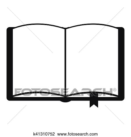 Open Book With Bookmark Icon Simple Style Clipart