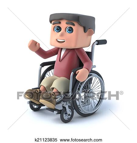 8618cee1a887c Stock Ilustrácia - 3d, chlapec, do, vozík pre chorých, bol, kyvat ...
